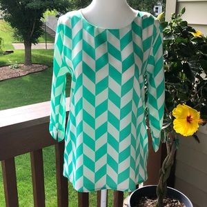 Everly Green and White Three-Quarter Sleeves Top
